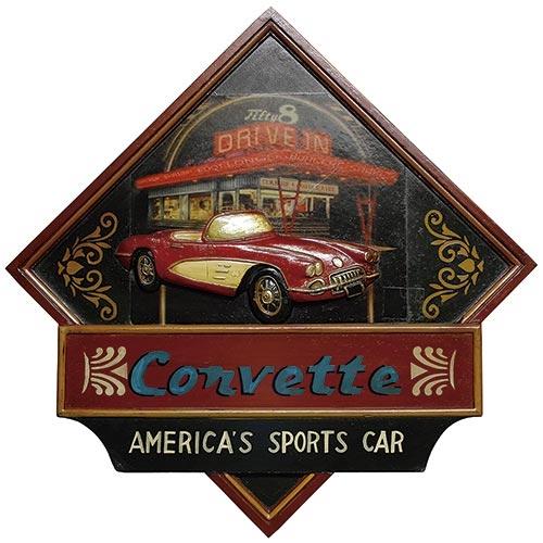 Quadro Corvette Vermelho Oldway - 58x68 cm