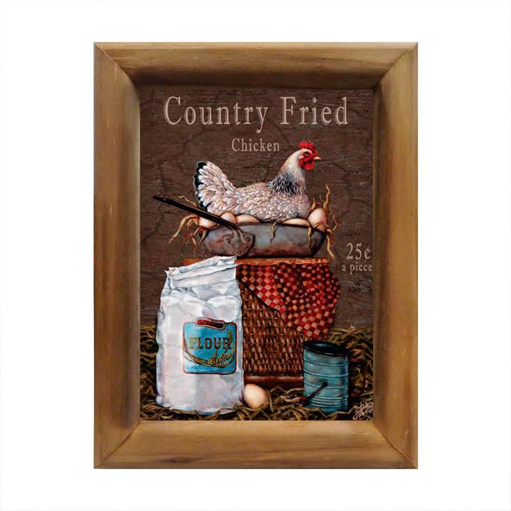 Quadro Country Fried Chicken em Madeira - 26x20 cm