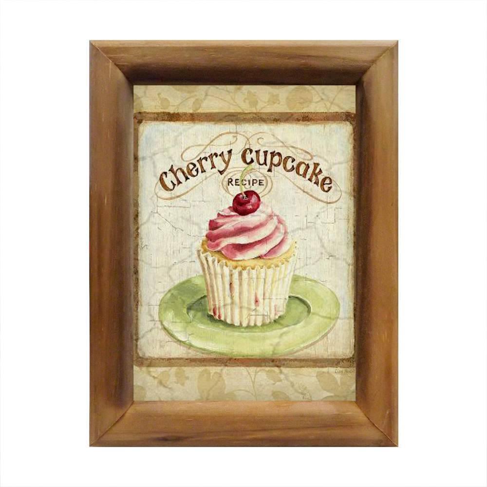 Quadro Cupcake de Cereja Bege em Madeira - 26x20 cm