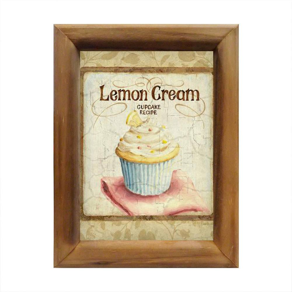 Quadro Cupcake de Creme de Limão Bege em Madeira - 26x20 cm