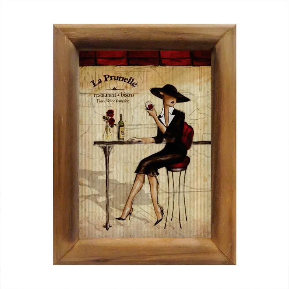 Quadro Dama em um Restaurante Francês em Madeira - 26x20 cm
