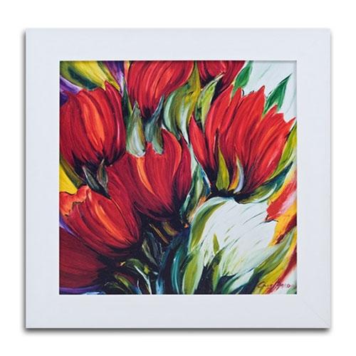 Quadro Decorativo Abstract Flores em Madeira - 86x86 cm