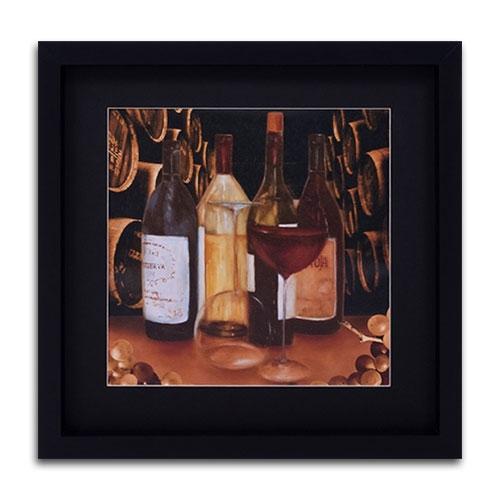 Quadro Decorativo Adega com Vinhos em Madeira - 48x48 cm