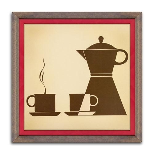 Quadro Decorativo Afternoon Coffee em Madeira - 38x38 cm