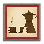 Quadro Decorativo Afternoon Coffee em Madeira