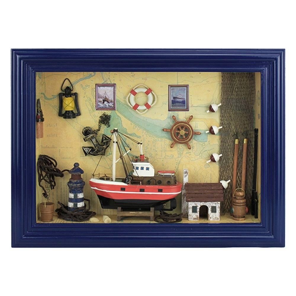 Quadro Decorativo Ambiente Náutico Colorido em Madeira - 46x45 cm