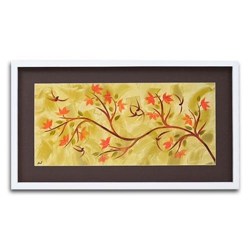 Quadro Decorativo Árvore de Outono em Madeira - 86x49 cm