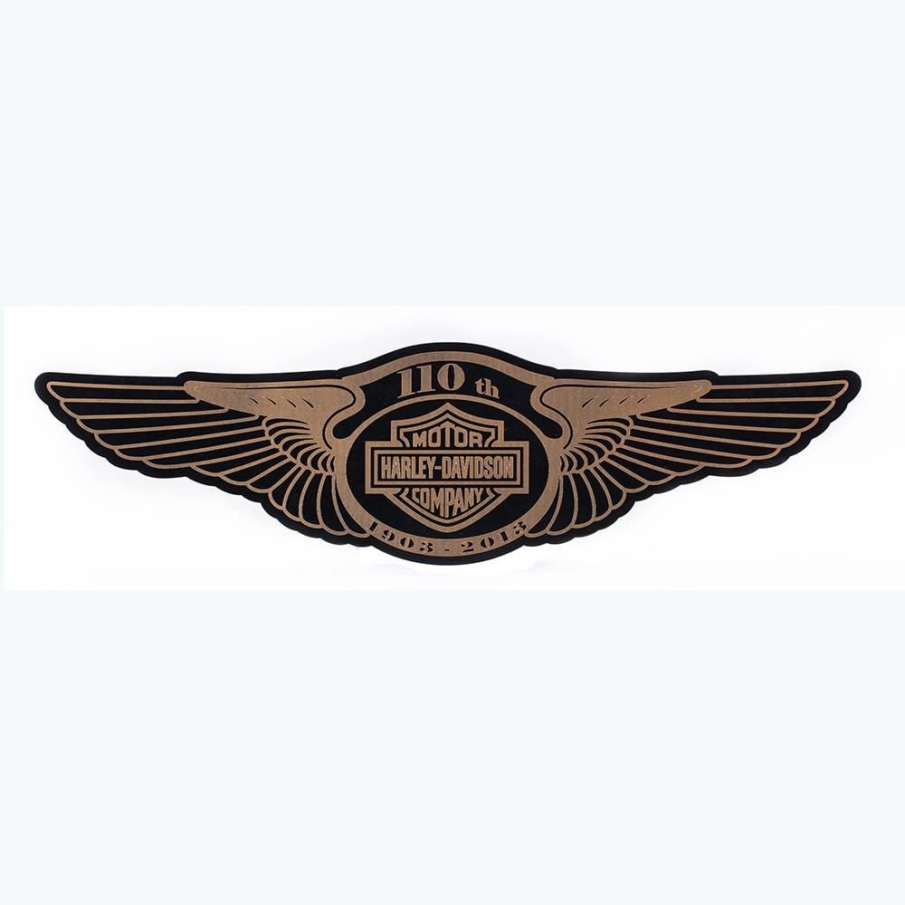 Quadro Decorativo Asas Harley Davidson Preto e Dourado em MDF - 80x21 cm