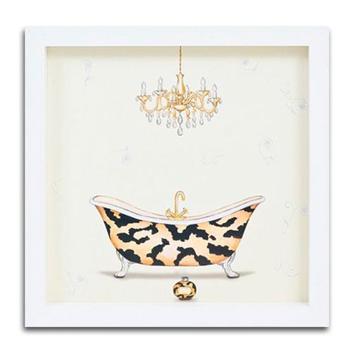 Quadro Decorativo Banheira e Lustre Vintage em Madeira - 34x34 cm