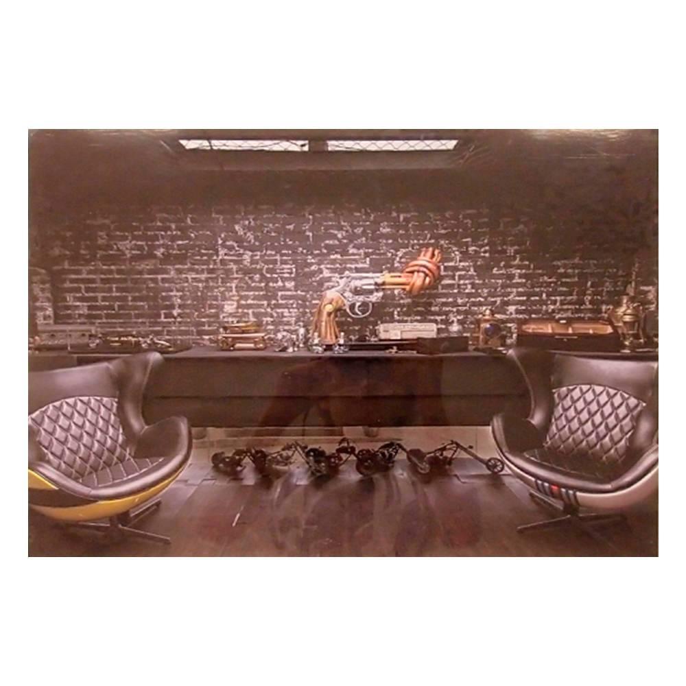 Quadro Decorativo Barbearia com 2 Poltronas Modernas em Vidro - 50x40 cm