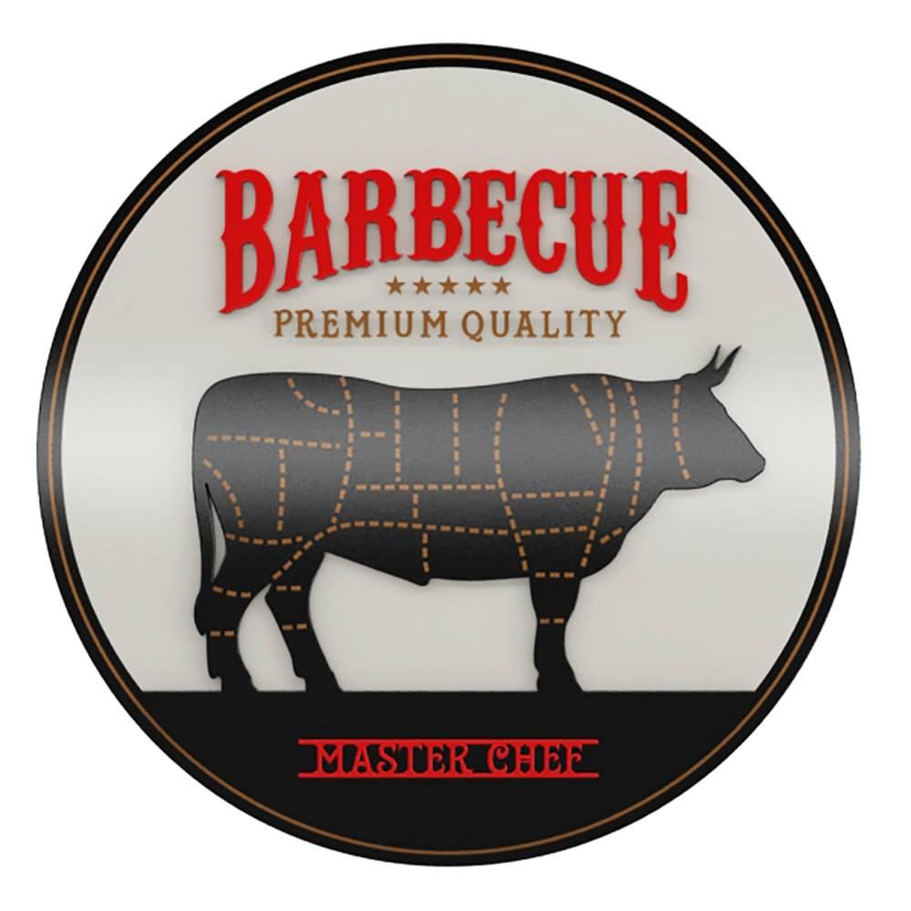 Quadro Decorativo Barbecue Premium Quality Preto em MDF - 40x40 cm