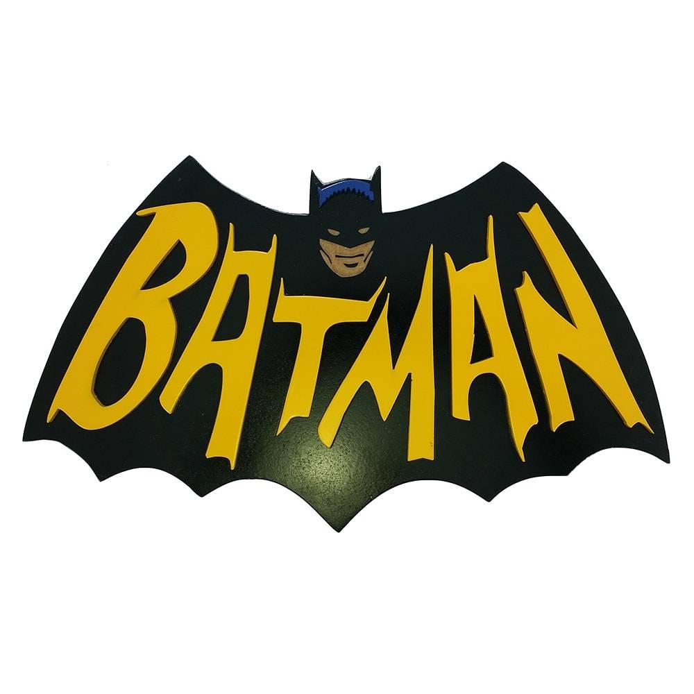 Quadro Decorativo Batman Retrô Preto em MDF - 43x26 cm