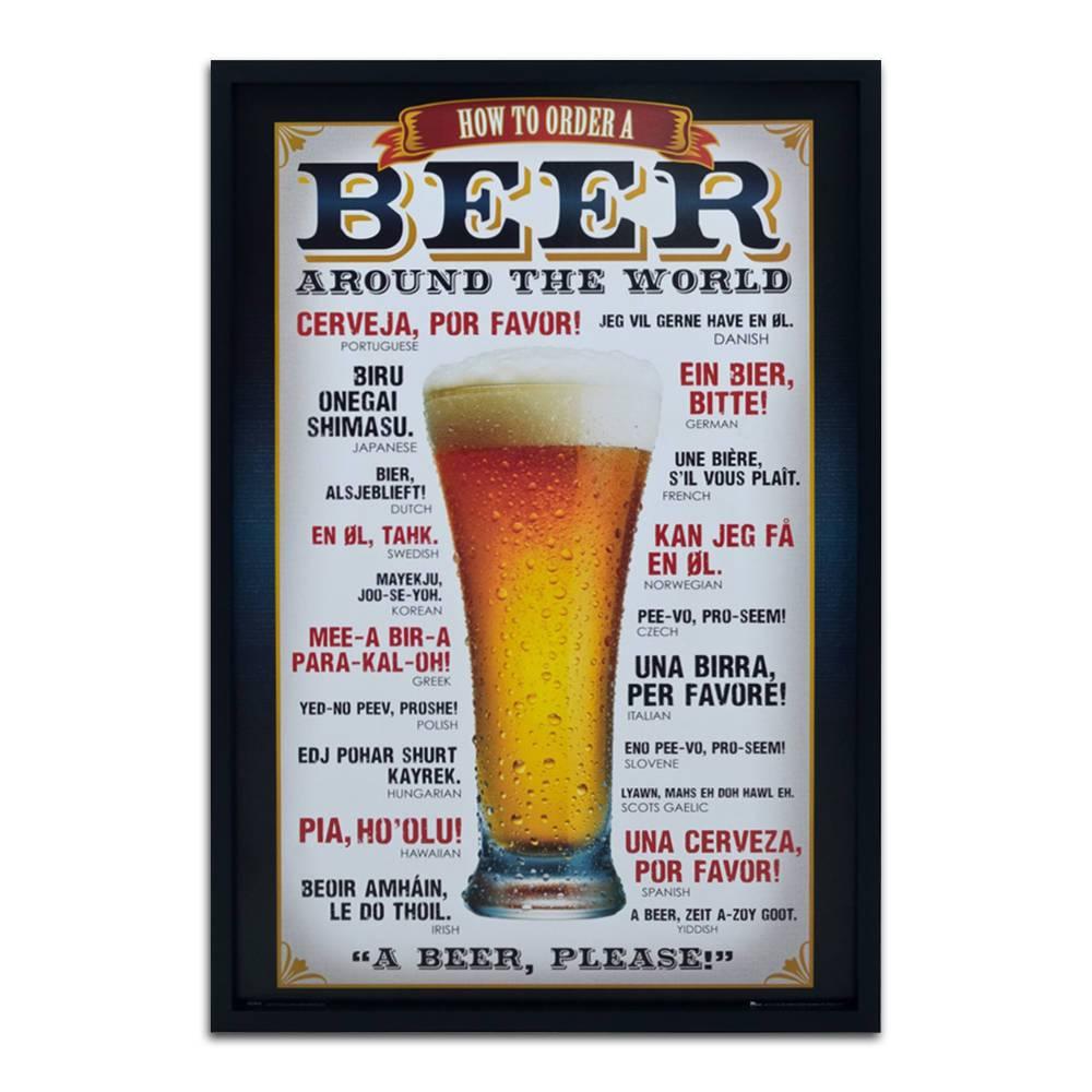 Quadro Decorativo Beer Order Around The World em Madeira - 94x64 cm