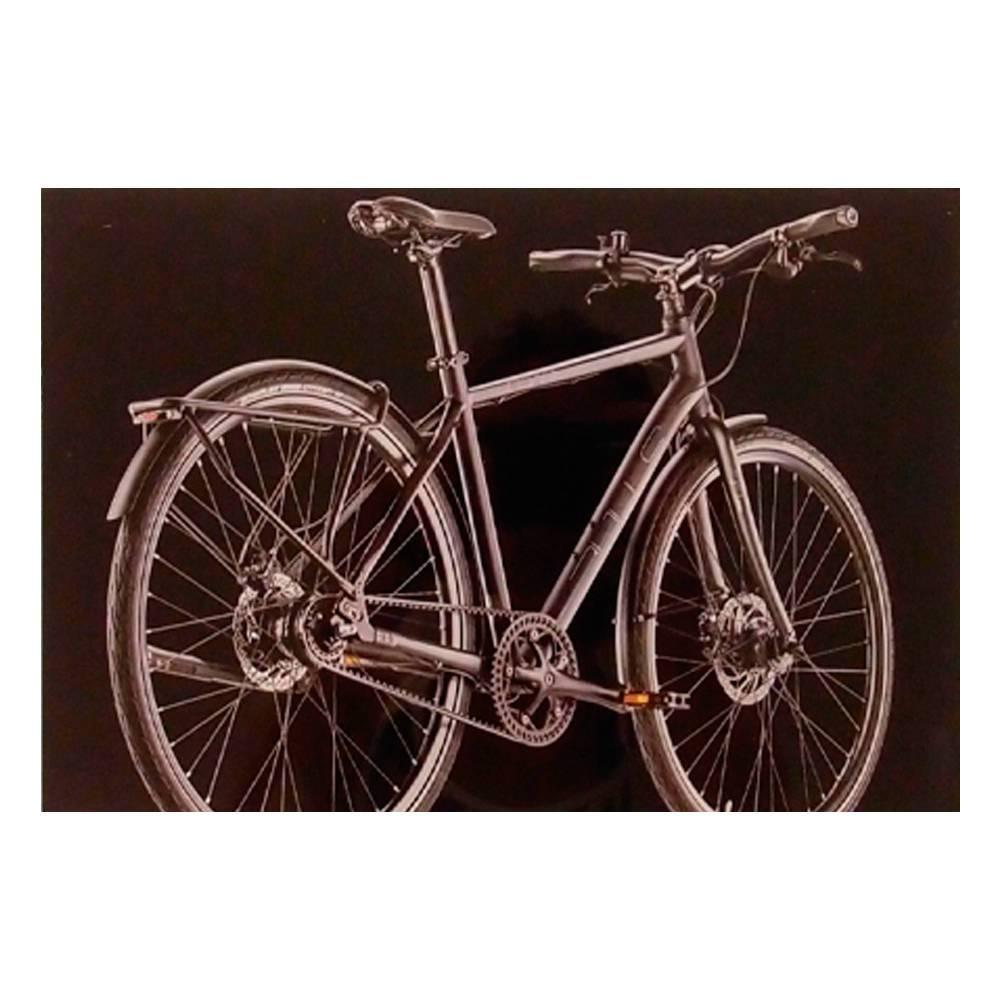 Quadro Decorativo Bicicleta Preta Moderna em Vidro - 30x20 cm