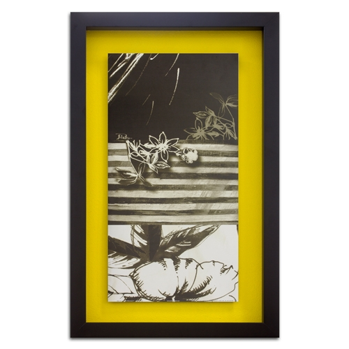 Quadro Decorativo Black And White Leaves I em Madeira - 78x48 cm