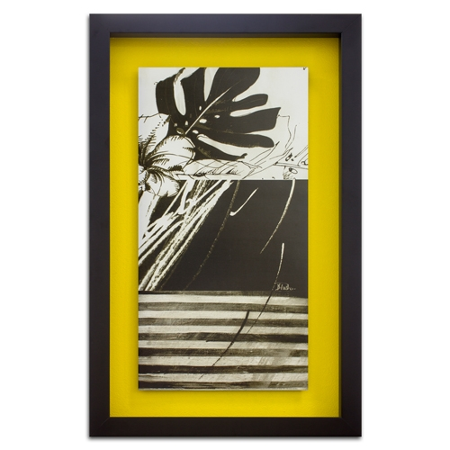 Quadro Decorativo Black And White Leaves II em Madeira - 78x48 cm