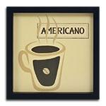 Quadro Decorativo Café Americano em Madeira
