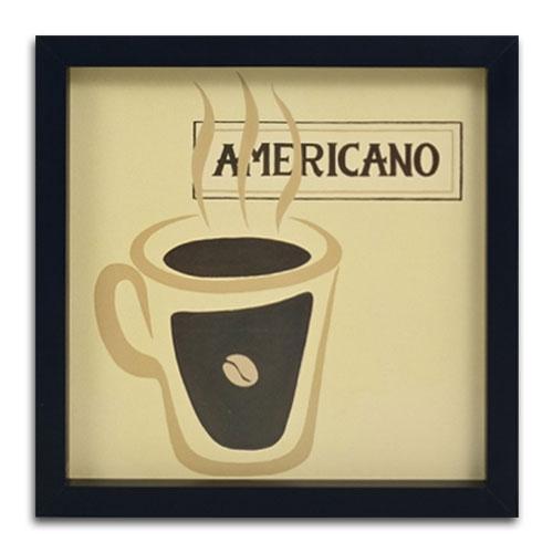 Quadro Decorativo Café Americano em Madeira - 34x34 cm