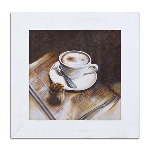 Quadro Decorativo Café com Cupcake em Madeira - 66x66 cm