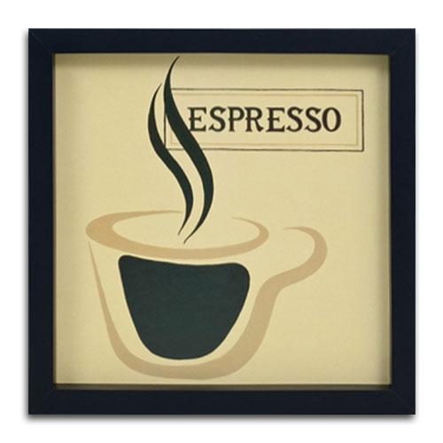 Quadro Decorativo Café Expresso em Madeira - 34x34 cm