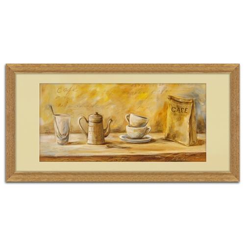Quadro Decorativo Café e Louças em Madeira - 68x35 cm
