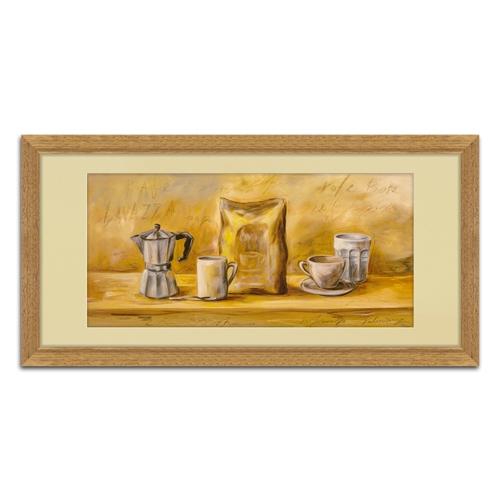 Quadro Decorativo Café e Louças Vintage em Madeira - 68x35 cm