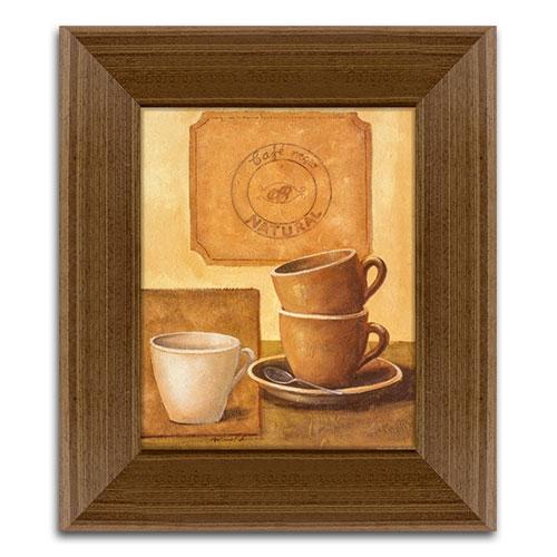 Quadro Decorativo Café Negro Natural em Madeira - 43x37 cm