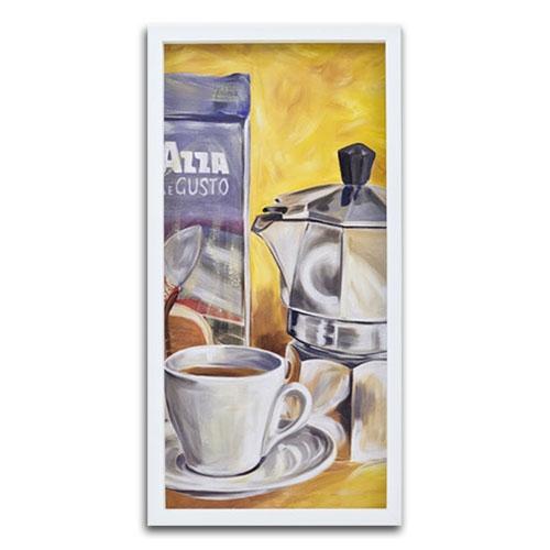 Quadro Decorativo Café Sobre a Mesa em Madeira - 74x37 cm