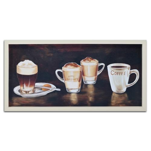 Quadro Decorativo Cafés Diversos em Madeira - 74x37 cm