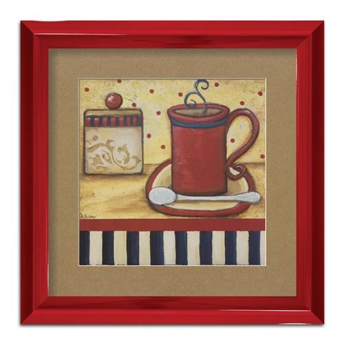 Quadro Decorativo Cafezinho Arte Vintage II em Madeira - 47x47 cm