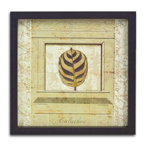 Quadro Decorativo Calathea em Madeira - 37x37 cm