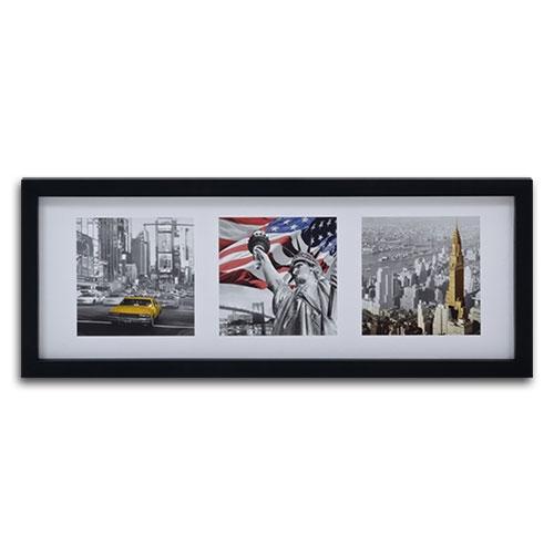 Quadro Decorativo Cartões Postais de New York em Madeira - 106x41 cm