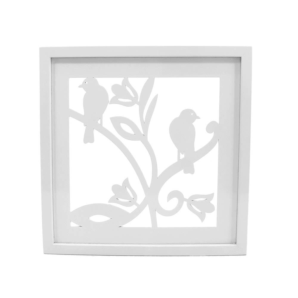 Quadro Decorativo Casal de Pássaros Branco em MDF - 34x34 cm