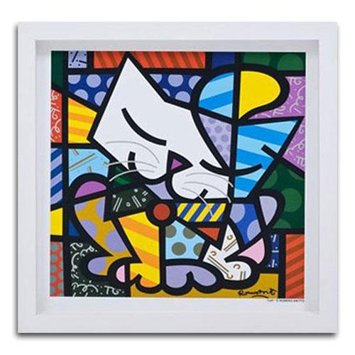 Quadro Decorativo Cat em Madeira - 38x38 cm