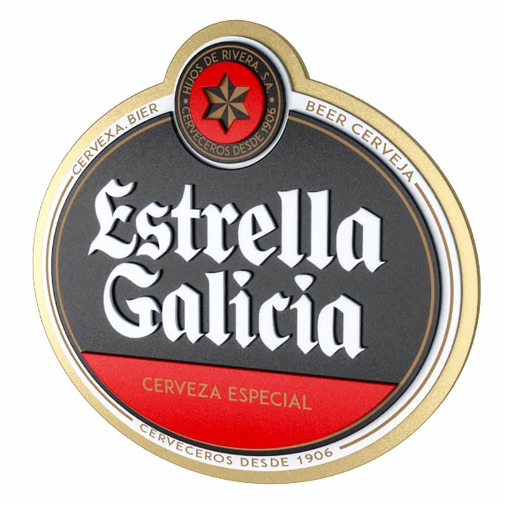Quadro Decorativo Cerveja Estrella Galicia Multicolorido em MDF - 40x38 cm