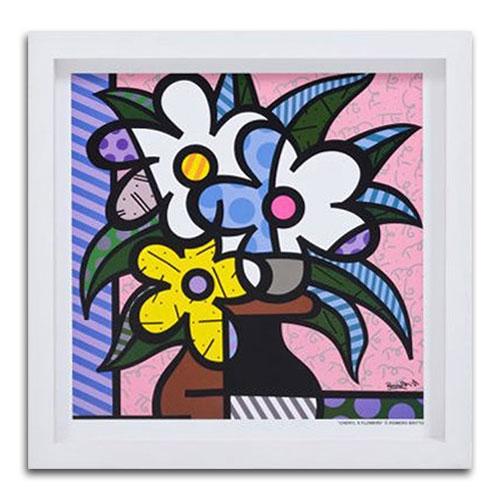 Quadro Decorativo Cheryls Flowers em Madeira - 38x38 cm
