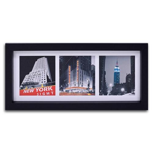 Quadro Decorativo Cidade de NY - USA em Madeira - 55x25 cm
