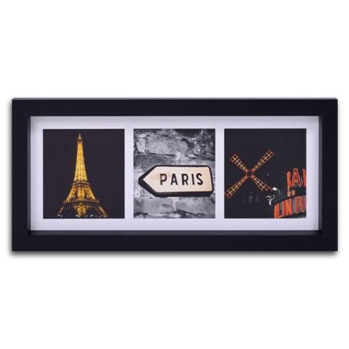 Quadro Decorativo Cidade de Paris - França - em Madeira - 55x25 cm
