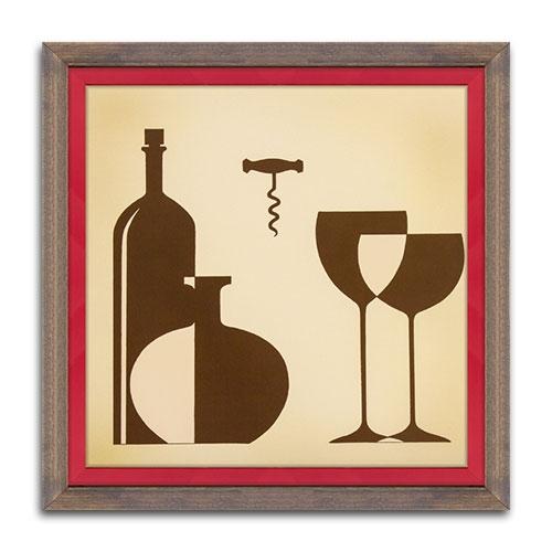 Quadro Decorativo Copa de Vino - Elegance - em Madeira - 38x38 cm