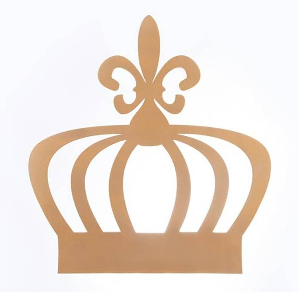 Quadro Decorativo Coroa Vazada Dourado em MDF - 33x31 cm