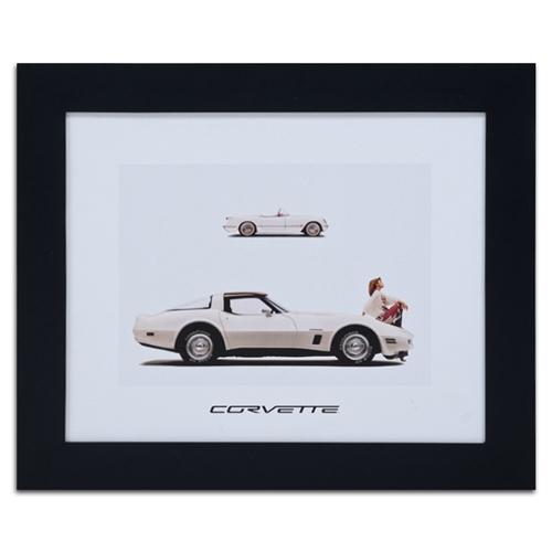 Quadro Decorativo Corvette Branco em Madeira - 61x51 cm