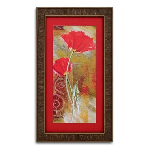 Quadro Decorativo Duas Flores Vermelhas Tradicionais em Madeira - 67x38 cm
