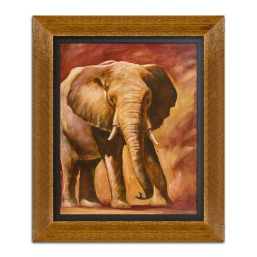 Quadro Decorativo Elefante em Madeira - 65x55 cm