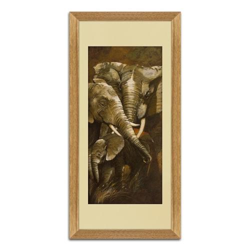 Quadro Decorativo Elefantes em Madeira - 70x35 cm