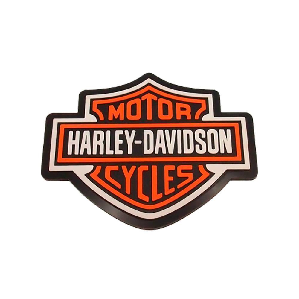 Quadro Decorativo Emborrachado Logo Harley Davidson Laranja - 22x20 cm