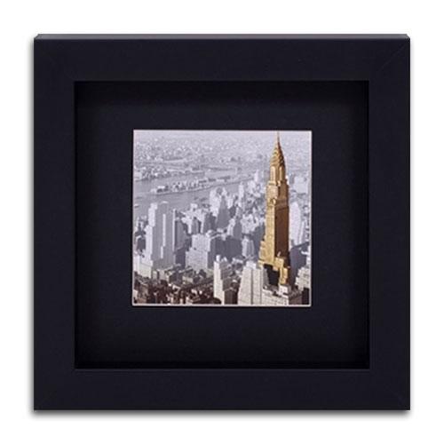 Quadro Decorativo Empire State Building em Madeira - 32x32 cm