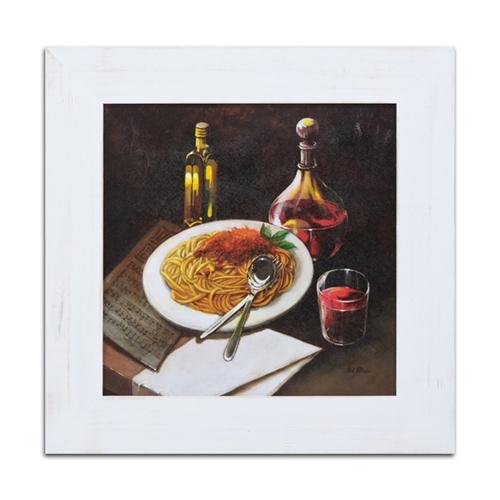 Quadro Decorativo Espaguette e Vinho Tinto em Madeira - 66x66 cm