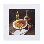 Quadro Decorativo Espaguette e Vinho Tinto em Madeira
