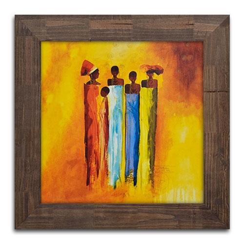Quadro Decorativo Família Africana em Madeira - 71x71 cm