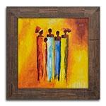 Quadro Decorativo Família Africana em Madeira